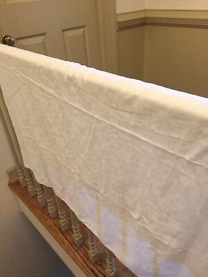 Antique Swedish Linen damask Table cloth lovely Geometric  design white Quality