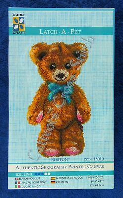 "Latch Hook Kit Boston Teddy Bear Printed Canvas 14.5"" x 27"" Tool Included"