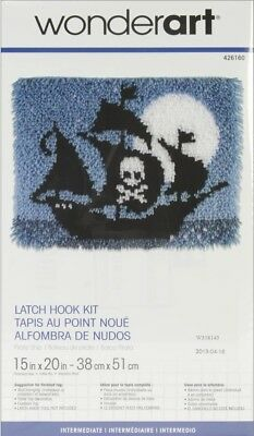 "Latch Hook Kit Pirate Ship 15"" x 20"" Skull & Cross Bones Moon Wonderart"