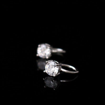 1x 925 Sterling Silver Simple CZ Ear Cuff Clip No Piercing Earrings A1915