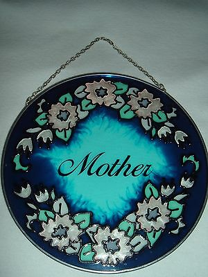"""Leaded Glass Hanger  """"mother""""  Round Shape  Stained Glass"""