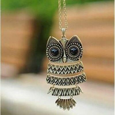 Owl Ancient Bronze Pendant  Necklace