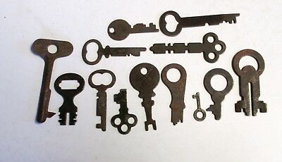 Lot of 13 Vintage Antique Flat Steel Keys
