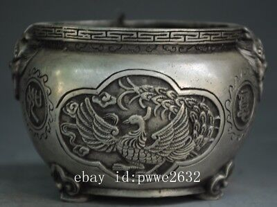 Chinese antique copper plating silver hand engraving Dragon phoenix pattern pot