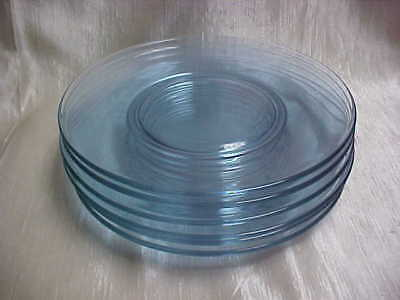 """Vintage 1960's Tiffin Glass Twilight Alexandrite Blue Pink 8-1/8"""" Plate Lot of 6"""