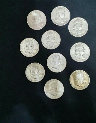 10 Franklin Half Dollars, 90% silver, all diff years, NO RESERVE! FREE SHIPPING!