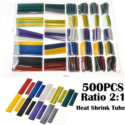 500PC Heat Shrink Tubing Tube Assortment Wire Cable Insulation Sleeving Kit Sets