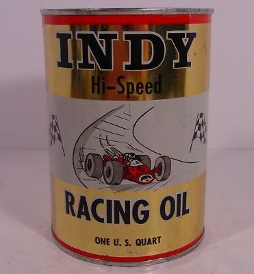 OLD!! INDY HI-SPEED RACING OIL ~ Indianapolis, Indiana ~ QUART MOTOR OIL TIN CAN