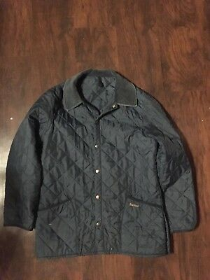 Barbour Quilted Liddesdale Jacket Navy Blue Coat Men sz Medium M Made in England