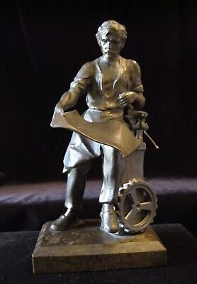 "Vintage Engineer Machinist Man 8"" Statue Figurine Bronze ? Brass ? Heavy Metal"