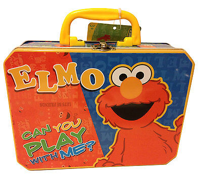 Sesame Street ELMO Tin Metal Lunch Box Carry All Case NEW