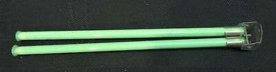 Vintage Green Jadite Glass Double Rod Folding Towel Bar with Wall Bracket