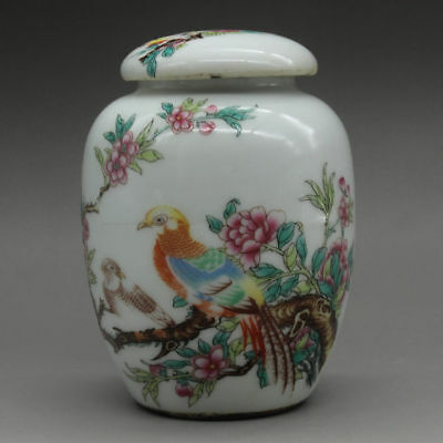 Chinese old Hand painted flower bird pattern porcelain famille rose tea caddy