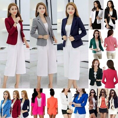 Womens Slim One Button Blazer Suit Casual Business Tops Jacket Coat Outwear AU