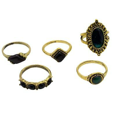 5pcs Bohemian Vintage Women Crystal Joint Knuckle Punk Nail Ring Gold Ring