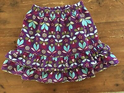 Hanna Andersson Corduroy Tiered Skirt Purple Floral Print Size 110 (4-6 years)