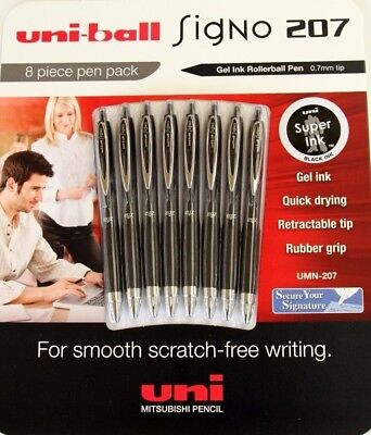 NEW 8-pack Uniball Signo 207 Gel Ink Black Pens 0.7mm Tip *FREE AU SHIPPING*