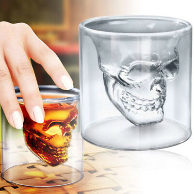 Double Wall Glass Skull Head Vodka Whiskey Coffee Cup Heat-resistant Drinking