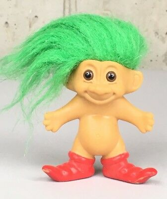 Vintage Troll With Green Hair And Red Shoes Rare Russ dam