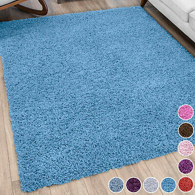 NON SHED SHAGGY RUG SMALL X LARGE SIZE THICK PLAIN SOFT 5cm PILE MODERN RUGS NEW