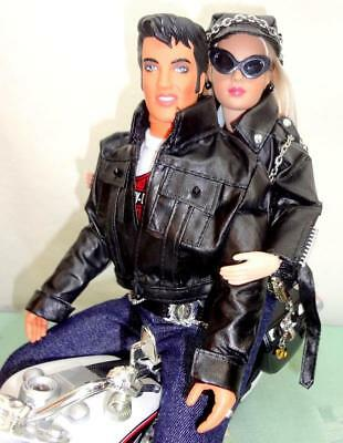 "Harley-Davidson Star Doll Set Tonner 10"" Tiny Kitty + 12"" Elvis + Toy Motorcycle"