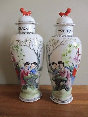 Antique 19th century Republic period Chinese pair of hand painted pottery vases