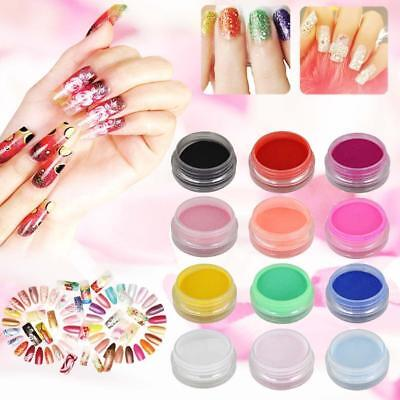 12 mix farben acryl nail art tipps uv gel pulver staub 3d diy dekoration set pt - Acrylngel Muster