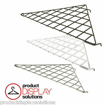 Box of 5 | Grid Gridwall Triangular Corner Shelf | BLACK, WHITE or CHROME