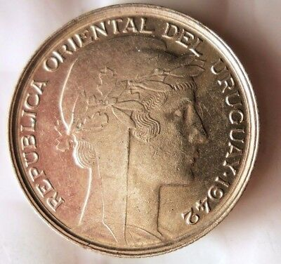 1942 URUGUAY 20 CENTESIMOS - AU - WW2 Era Silver Coin - Lot #J20