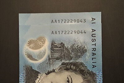 Consec Pair of AA17 ** FIRST PREFIX ** 2017 $10 notes STARTING with 222 UNC!!