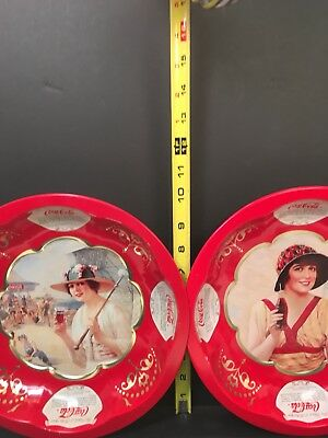 2 COCA-COLA TIN BOWLS The Drink Of All The Year Modern Trays w/ Vintage Pictures