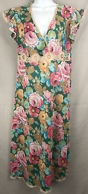 Vintage Multi Colored Women's Floral Full Slip Size 6