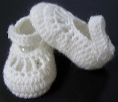 White crochet handmade baby wool strap booties/shoes 0, 00, 000, 0000,
