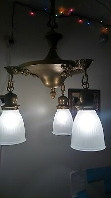Antique Brass Hanging 3 Lite Pan Chandelier Ceiling Lamp Light Fixture