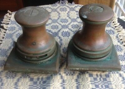 Two Vintage Heavy Duty Brass Winches