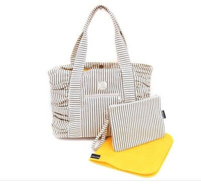 Bella Tunno Blue White Striped Classic Canvas Baby Bag Carry-All Diaper Bag