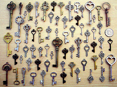 60 New Keys Antique Vintage Style Steampunk Findings Old Beads Charms Craft B8