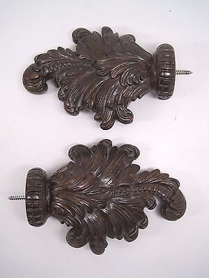 """Pair of 2 Large 8"""" Acanthus Leaf Drapery Window Treatment Curtain Rod Finials"""