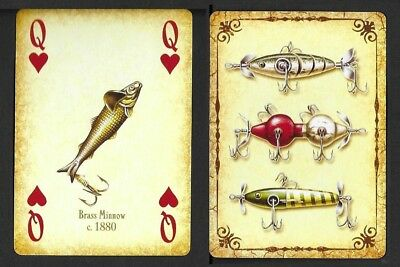 Brass Minnow c. 1880, Antique/Vintage Fishing Lure, Single Playing Card