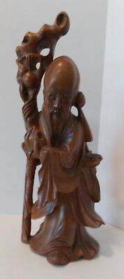 Vintage Chinese Carved Wood Scholar Immortal Figurine Statue