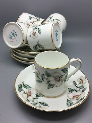 "5 x Coffee Cans & Saucers - Crown Staffordshire ""Pear Blossom"" Fine Bone China"