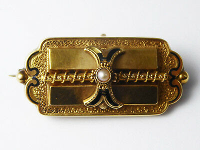 Antique Victorian 18ct Yellow Gold, Enamel & Pearl Brooch