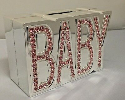 New Baby Girl Pink Diamante Stoned Silver Plated Baby Girl Money Box Birth Gift