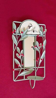 Pfaltzgraff Winterberry Wall Mirror with Votive Cup or Tea Light Candle Holder