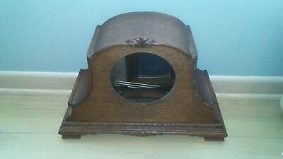 Antique clock case with chime rods
