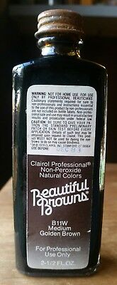 VTG Clairol Professional Beautiful Browns Hair Color Glass Bottle