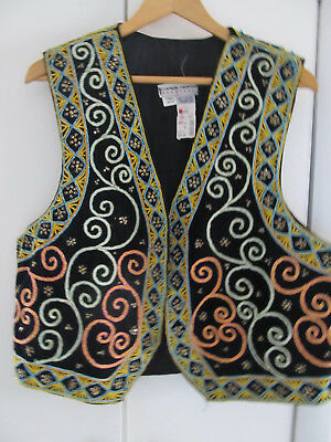 Carol Horn Workshop Black Velvet Embellished Multi Threads & Beaded Vest