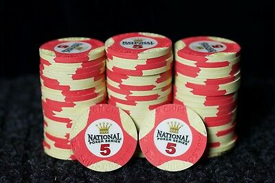 20 Paulson National Poker Series 5 denomination poker chips - excellent cond.