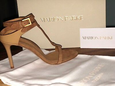 Marion Parke Layla T-strap Heeled SandalNEW in Box. Suede