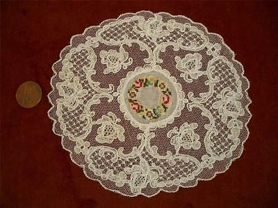 1 PETITE Antique Vtg SCHIFFLI LACE PETIT POINT EMBROIDERY NET LACE DOILY *WREATH